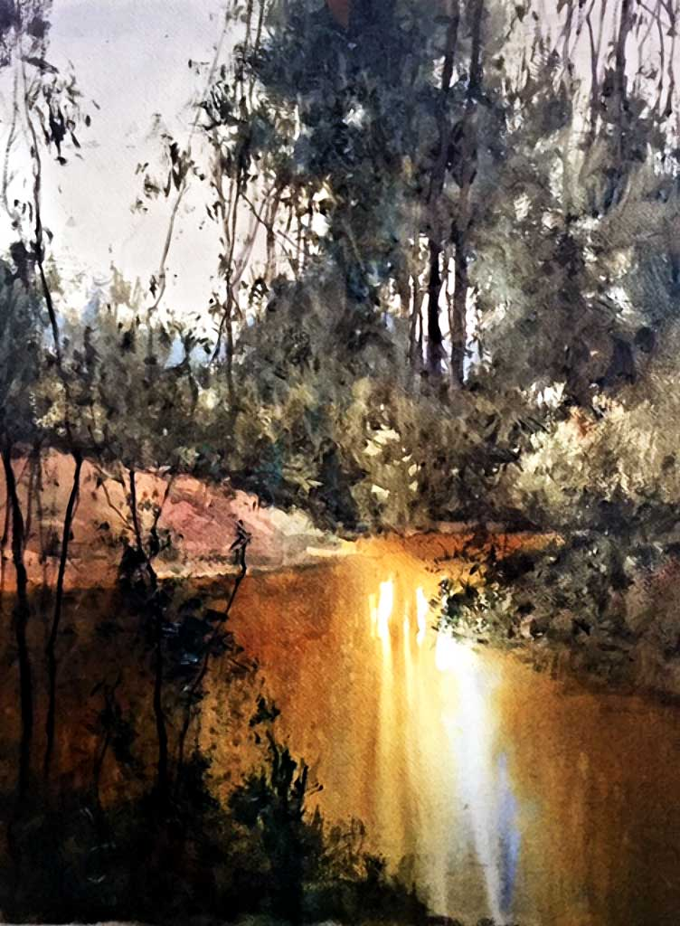 Herman Pekel watercolour Billabong