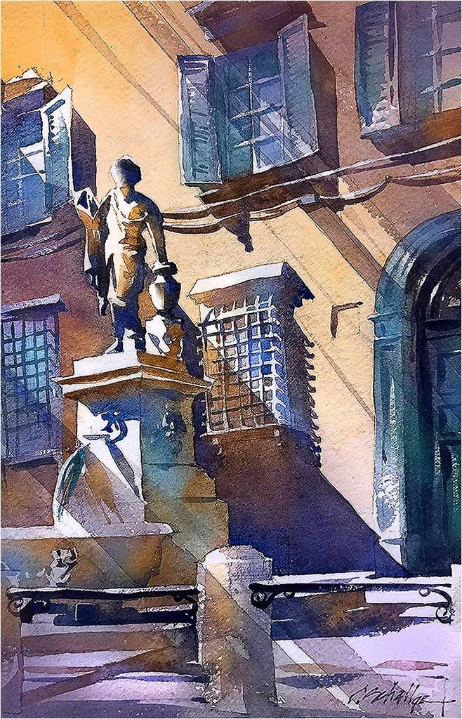 Venice statue watercolor by Thomas Schaller