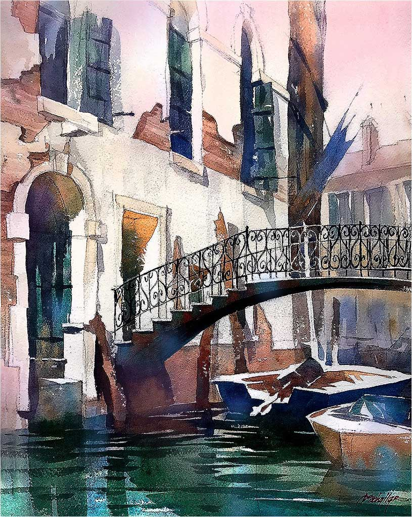 Venice canal watercolor by Thomas Schaller