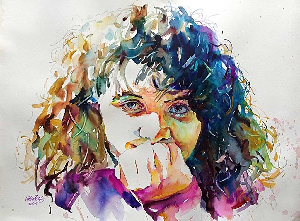 Amber, watercolor portrait by David Lobenberg