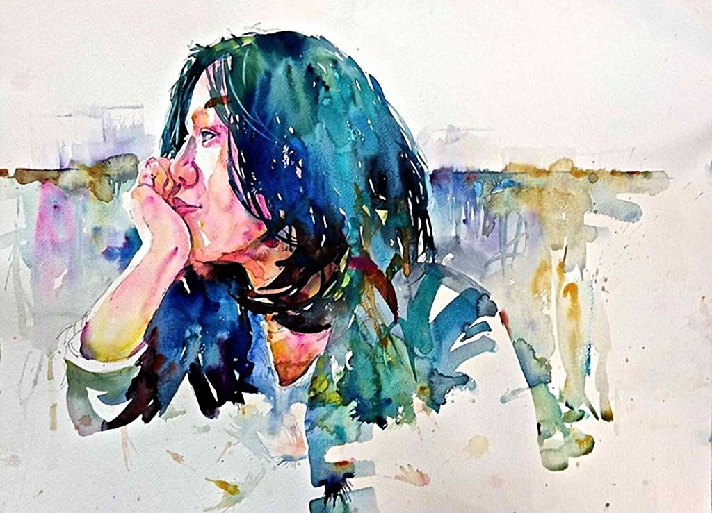 Jessi, watercolor portrait by David Lobenberg