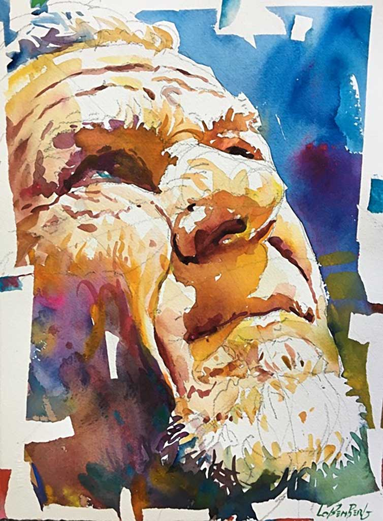 Ron, watercolor portrait by David Lobenberg